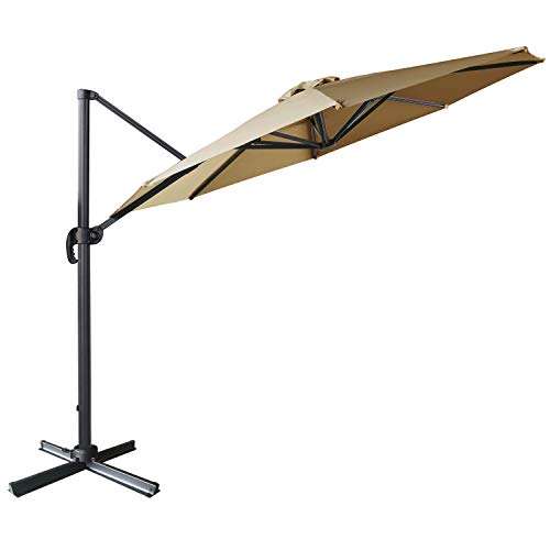 ABCCANOPY Offset Cantilever Umbrella 10 FT Outdoor Patio Hanging Umbrella Roma Umbrella UV50+ 360 Degree Rotation with Cross Base for Patio, Deck, Pool and Backyard