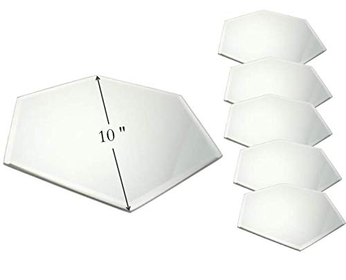 Hexagonal Mirror Tray – Set of 6 – 10 Inch Diameter – Use as Candle Plate, Table Centerpieces, Wall Décor. by Light In the Dark