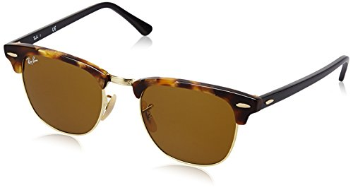 Ray-Ban CLUBMASTER - SPOTTED BROWN HAVANA Frame BROWN Lenses 49mm Non-Polarized