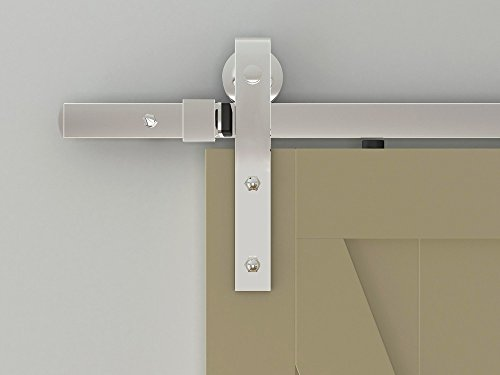 Designer's Collection Flat Rail Hook Strap Rolling Door Hardware Kit, Chrome Plated (Rail Collection)