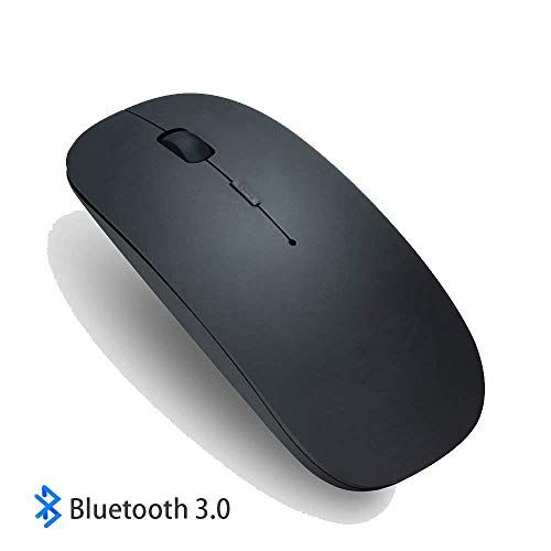 DNLM Bluetooth Wireless Mouse, Slim Rechargeable 3.0 Wireless Mouse 3 Adjustable DPI Level for Notebook, PC, Mac, Laptop, Computer, Windows/Android Tablet (Black)