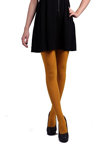 HDE Women's Solid Gradient Color Stockings Opaque Microfiber Footed Tights (Mustard Yellow) - French's Mustard Costume