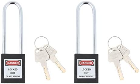 H HILABEE 2本の安全セキュリティロックアウト錠前錠、キー、ステンレススチール