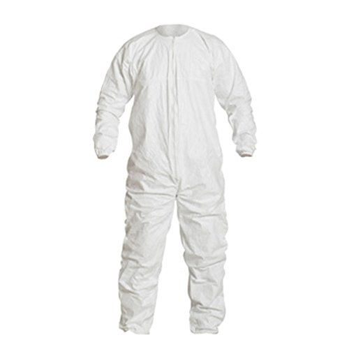 Image of DuPont Tyvek IsoClean IC255B Coverall with Dolman Sleeve Design and Zipper Closure, White, 5X-Large (Pack of 25) Coveralls