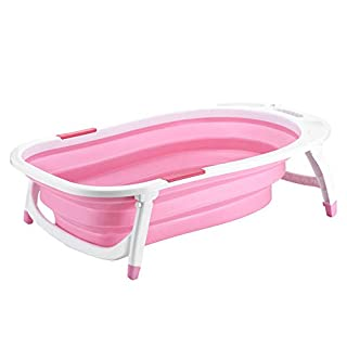 Baby Bath Tub Newborn, Folding Infant Bathtub, Kids Portable Folding Bathtub, Stable Non-Slip, Easy to Drain, Support for 0-3 Years, Pink