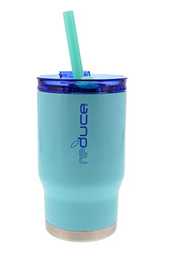 reduce COLDEE Vacuum Insulated Stainless Steel Kids Tumbler with Straw, 3-in-1 Lid, 14oz - Tasteless and Odorless, BPA Free, Portable & Great for Children (Mint w/Blue ()