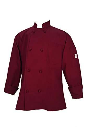 Mercer Culinary Millennia Unisex Cook Jacket with Pocket and Cloth Knot Buttons, Small, Burgundy