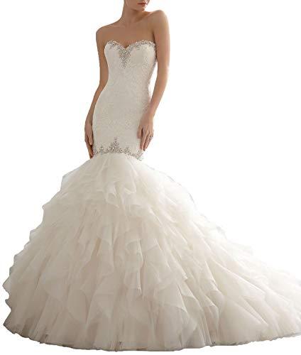 (Princess A-line White Tube Bridal Gown Mermaid Organza Ruffles White Bride Wedding Dress for Women Plus Size)