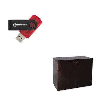 KITIVR37600MLNMHDC3620ESP - Value Kit - Mayline Mira Series Veneer 36W Hinged Door Credenza (MLNMHDC3620ESP) and Innovera USB 2.0 Flash Drive - Hinged Door Credenza
