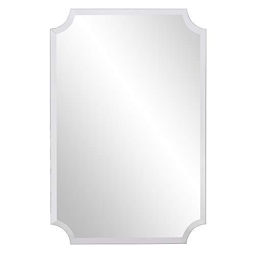 Howard Elliott Frameless Scalloped Hanging Wall Mirror, Rectangle (24 x 36 Inch), - 36 Light 24 Bathroom Rectangle X And Mirrors Set
