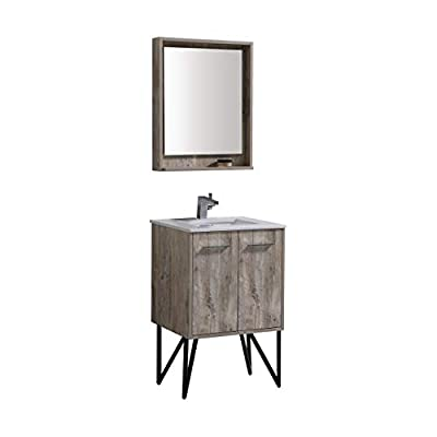 Bosco 24″ Modern Bathroom Vanity w/Quartz Countertop and Matching Mirror -  - bathroom-vanities, bathroom-fixtures-hardware, bathroom - 314VC1YeR0L. SS400  -
