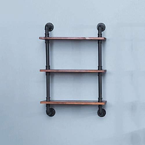 フローティング棚産業鉄配水管フローティング収納オーガナイザー棚壁掛けワインラック無垢材ボード強くて丈夫60×20×90 Cm SYFO
