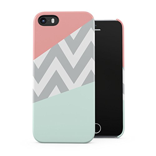 Mint And Coral Pink Chevron Blocks Plastic Phone Snap On Back Case Cover Shell For iPhone 5 & iPhone 5s & iPhone SE