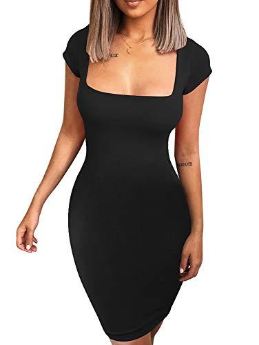 BEAGIMEG Women's Sexy Square Neck Bodycon Elegant Short Mini Party Dress Black