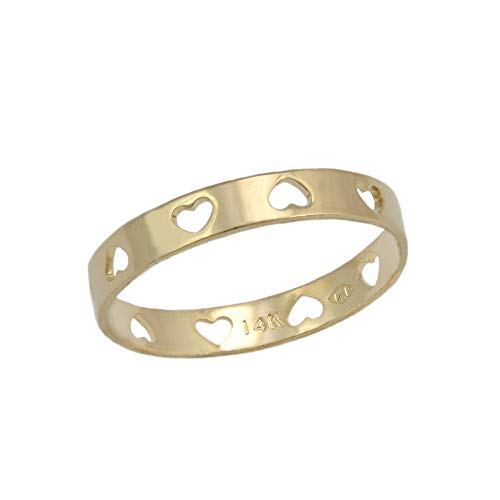 Baby & Toddler Girl 14K Yellow Gold All Around Cut Out Heart Band Ring (Size 2)