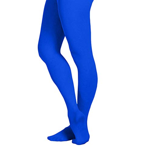 (EMEM Apparel Women's Ladies Solid Colored Opaque Dance Ballet Costume Microfiber Footed Tights Stockings Fashion Royal Blue C)