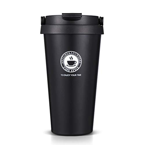 FLY SPRAY Stainless Steel Thermos Mug Insulation Double-Walled Coffee Cup with Lid Portable For Sports Home Office Car Travel School Use Drink Bottle 17oz Black (Best Portable Coffee Cup)