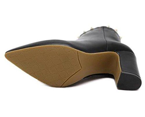 KUKI Herbst und Winter Stiefel High Heels Stiefel Nieten nackten Stiefel Martin Stiefel billig Frauen Stiefel leichte atmungsaktive Freizeitschuhe black