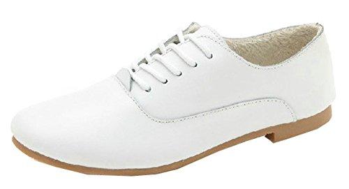 y en mujer para Aisun Zapatillas punta con redonda redonda cordones punta deporte blanco de de 1gwOv