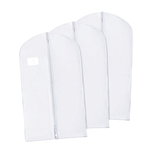 HANGERWORLD 3 White 40inch Breathable Suit Coat Garment Clothes Carry Cover Protector Bags