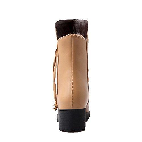 AgooLar Damen PU Niedriger Absatz Rund Zehe Rein Ziehen auf Stiefel Aprikosen Farbe