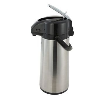 Winco AP-825 2.5-L Vacuum Server W/ Glass Liner & Lever-Top, Stainless Steel Body - Airpots-AP-825