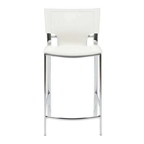 Arm Euro Bar Stool - Euro Style Vinnie Leather Dining Chair with Chromed Base, Set of 2, Counter Height, White
