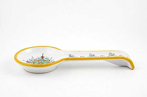 Hand Painted Italian Ceramic Spoon Rest Festone - Handmade in Deruta by Fima