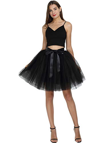 Costume Adult Witch Ballerina (Women's High Waist Princess Tulle Skirt Adult Dance Petticoat A-line Wedding Party Tutu(Black),One Size)