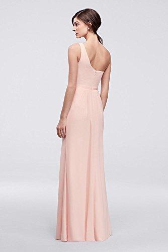 David's Bridal Side-Ruched One-Shoulder Bridesmaid Dress Style POB17003, Marine, 14