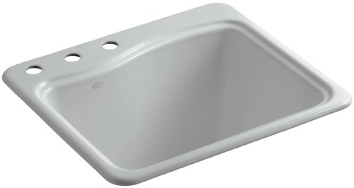 - Kohler K-6657-3-95 River Falls Self-Rimming Sink with Three-Hole Faucet Drilling, Ice Grey