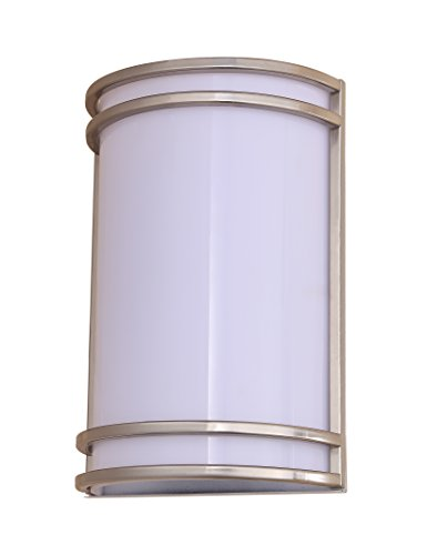 Outdoor Bottom Sconce - LB75110 15W LED Outdoor Wall Sconce Lighting, 10-Inch Half Cylinder Shaped, Antique Brushed Nickel, 4000K Daylight, 800 Lumens, Waterproof and Outdoor Rated ETL, Dimmable