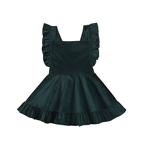 (Hwaikun Toddler Baby Infant Tutu Sleeveless Vest Dress Backless Cute Romper Newborn Kid Ruffle Skirt, Ages for 6M-5T (Green, 3-4 T) )