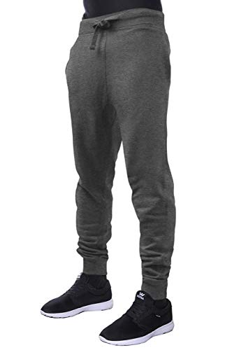 (Hat and Beyond Mens Active Fleece Jogger Pants Casual Urban Harem Slim Fit Elastic (Medium, 1HC0003_Charcoal))