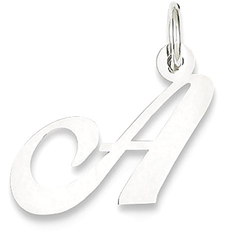 ICE CARATS 14k White Gold Small Script Initial Monogram Name Letter A Pendant Charm Necklace Fine Jewelry Gift Set For Women (White Leaf Pendant)