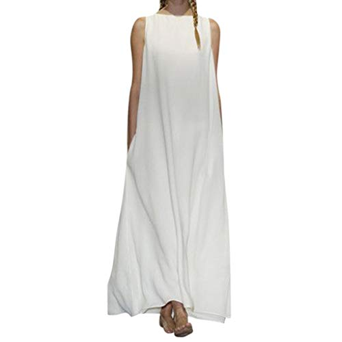 BOLUBILUY Long Dress for Women,Summer Cotton Linen Loose Swing Sleeveless Flowy Solid Maxi Dresses O Neck with Pocket White
