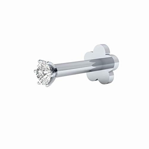 14k White Gold Pin - Animas Jewels 1.7mm Natural Diamond Nose Lip Labret Monroe Ring Screw Stud Nose Pin Solid 14k White Gold Certified (8, White-Gold)