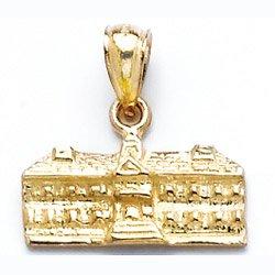 Gold Travel Charm Pendant 3-D Wren Buildings Williamsburg,va - Virginia (Wren Building)