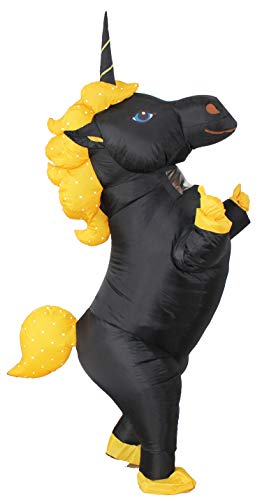 GOPRIME Sale Now !! Unicorn Costume Horn Horse Inflatable Suit (Black Large)]()