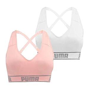 PUMA Women's Seamless Sports Bra Removable Cups -, White-pink, Size Medium