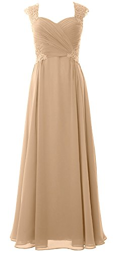 MACloth Women's Strapless Long Lace Chiffon Prom Dress Formal Party Ball Gown (EU40, Champagne)