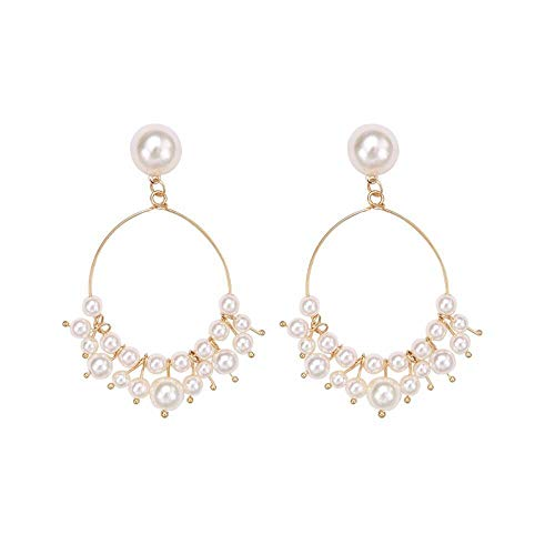 Big Circle Imitation Pearl Drop Silver Earrings for Women Party Wedding Jewelry ()