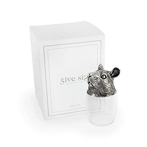 - 5ive Sis Refined Finest Pewter Whiskey Vodka Tequila Drinking Shot Glass Crystalline Head Stand Lead-free 12 Chinese Zodiac Animal Horoscope Holy Style Style Collection WG801S (Mouse)