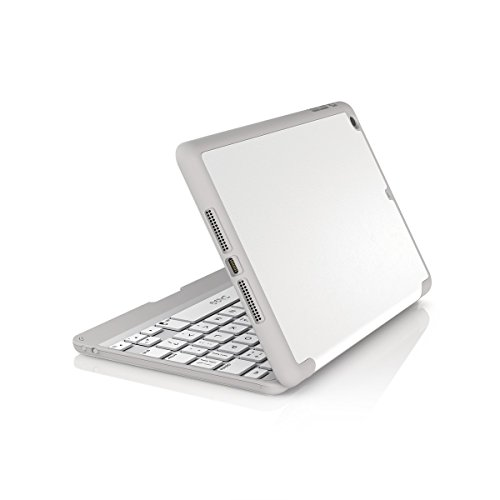 ZAGG Folio Case, Hinged with Bluetooth Keyboard for iPad mini / mini 2 / mini 3 - White (Best Keyboard For Ipad Mini Retina)