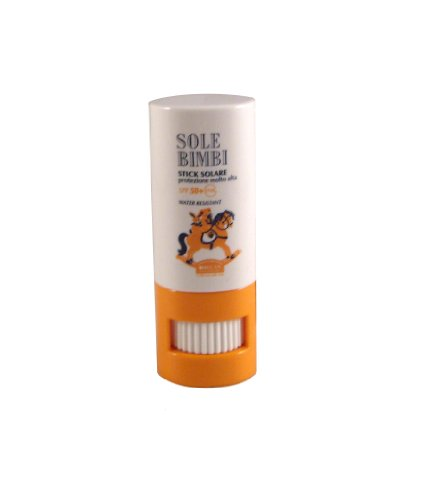 Helan Sole Bimbi - Infant and Toddler SAFE Sunscreen stick Paraben Free, PABA Free, Sodium Benzoate Free and Tested 100% Free of Nickel, Cadmium and Cobalt SPF50 UVA Water Resistant by Helan