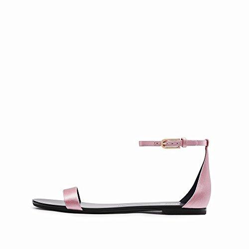 Chaussures Simples Talon Chaussures Mot Mot Une Plat Rond D'Été DHG 5 Bouton Sandales 37 zxIqvwWpU