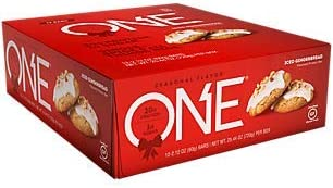 ONE Protein Bar ICED GINGERBREAD (12 Pack) Gluten-Free Protein Bar with High Protein (20g) and Low Sugar (1g)