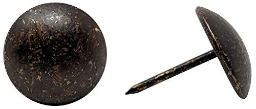 "ComfortStyle Premium Upholstery Tacks, Nailhead Decorative Trim for Furniture, 5/8"" Diameter, Dark Antique Brass (100)"