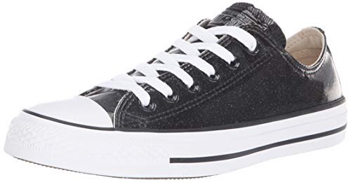Converse Women's Chuck Taylor All Star Glitter Canvas Low Top Sneaker, Black/White, 9.5 M US