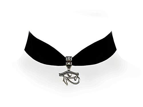 Victorian Vault Black Velvet Choker Jewelry Egyptian Eye of Horus Hieroglyphic Pendant Necklace